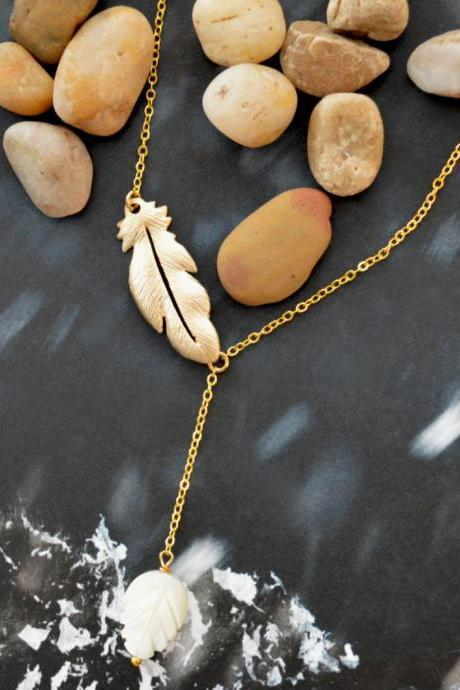 Asymmetric feather pendant necklace, Seashell leaf necklace, Gold plated necklace/Bridesmaid gifts/Everyday jewelry/