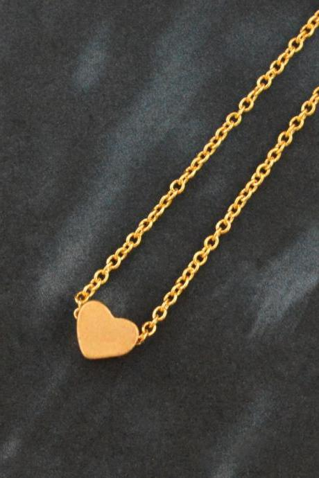 Heart necklace, Simple Necklace, Modern necklace, Girls necklace, Gold plated necklace/ Bridesmaid gifts / Everyday jewelry /