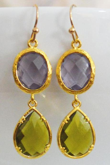 Glass drop earrings, Tanzanite & khaki drop earrings, Dangle earrings, Gold plated earrings/Bridesmaid gifts/Everyday jewelry/