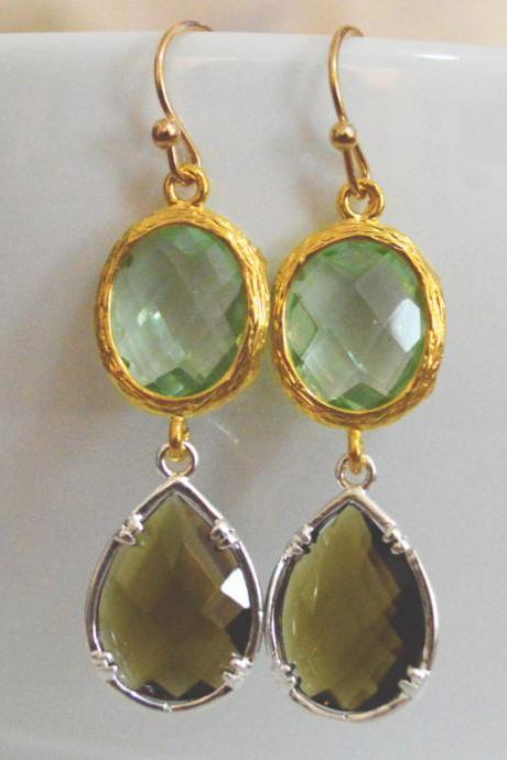 SALE10%) B-026 Glass earrings, Light green&morion drop earrings, Dangle earrings, Gold and Silver plated/Bridesmaid gifts/Everyday jewelry/