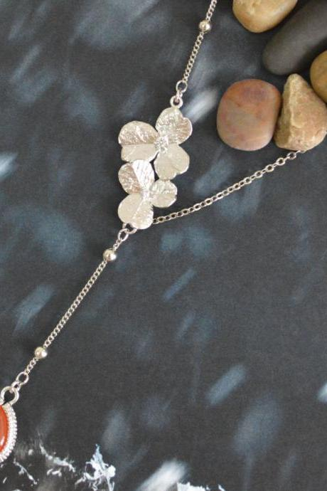 Sideways flower necklace,Asymmetrical flower, Bezel set aventurine necklace, White gold plated ball & flat-o chain/Special gifts/Everyday jewelry/
