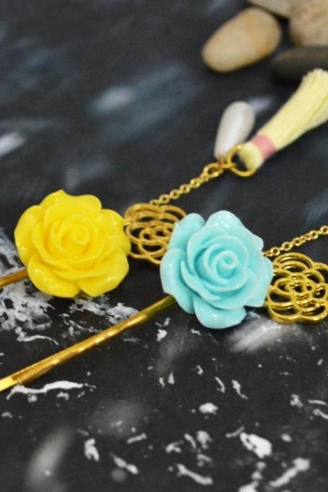 SALE10%) D-001 Cabochon extension with flower pendant, pearl & tassel hairpin, Gold plated hairpin/Everyday accessory/