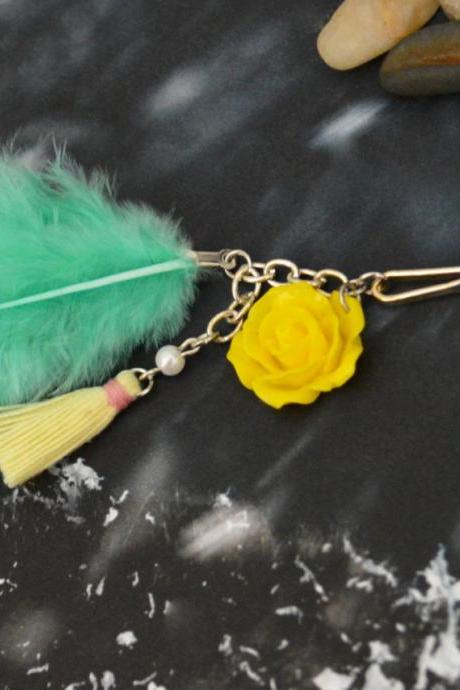 SALE10%) D-007 Tropic green hackle hen feather extension, Yellow flower cabochon with lemon yellow tassel hairpin, Silver plated hairpin/