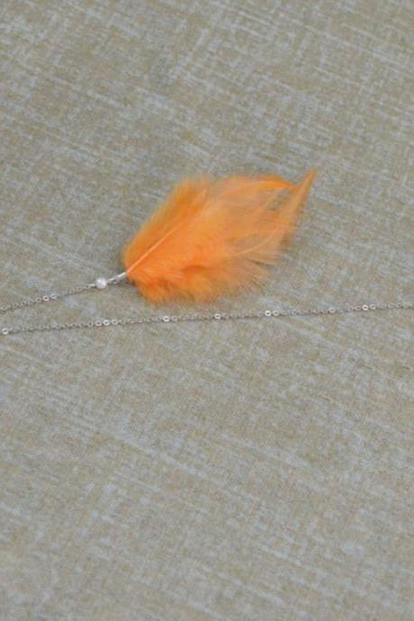 SALE10%) D-006 Pale orange feather extension, Hackle hen feather hairpin, Lovely hairpin, Silver plated hairpin/ Everyday accessory/