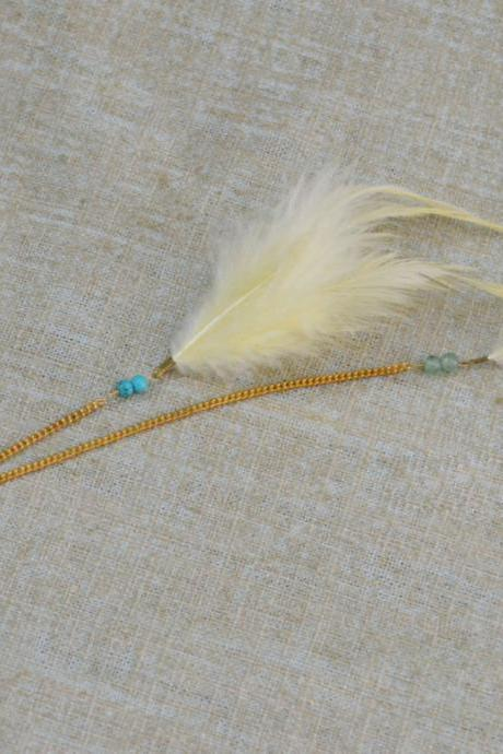 SALE10%) D-005 Yellow feather with turquoise extension, Yellow cabochon hairpin, Lovely hairpin, Gold plated hairpin/Everyday accessory/