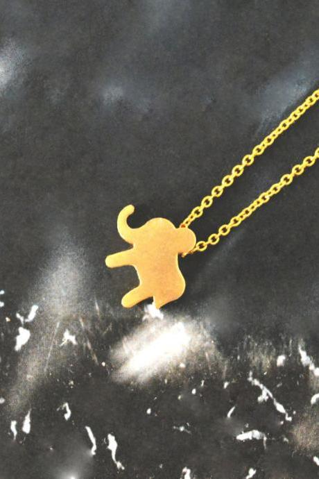 Elephant necklace, Animal necklace, Simple necklace, Modern necklace, Gold plated chain/Everyday jewelry/Special gift/