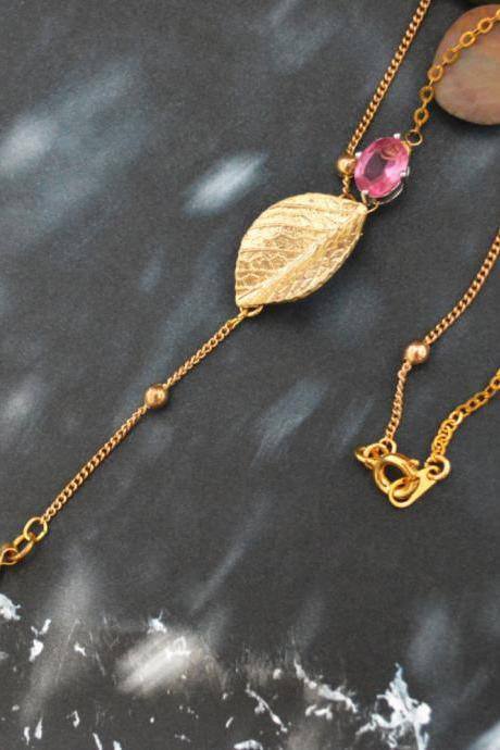 Sideways Leaf necklace, Bezel set crystal drop necklace, Gold plated ball and flat-o chain/Bridesmaid gifts/
