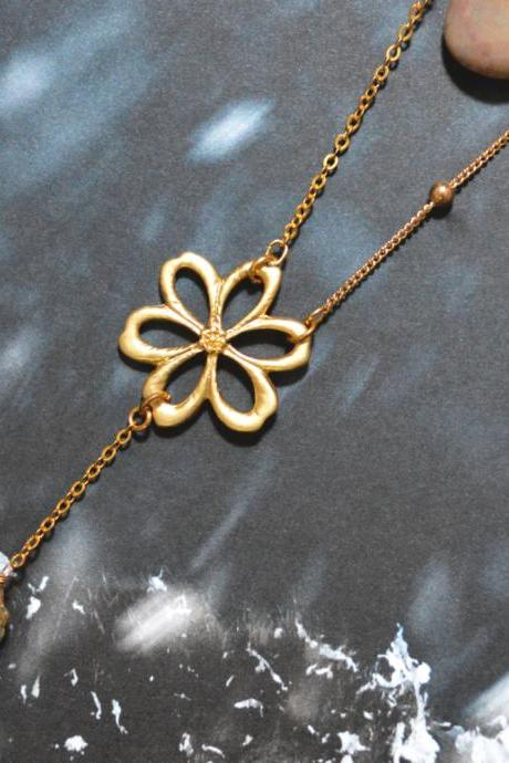 Flower pendant aqua drop necklace, Gold plated ball and flat-o chain/Bridesmaid gifts/Everyday jewelry/