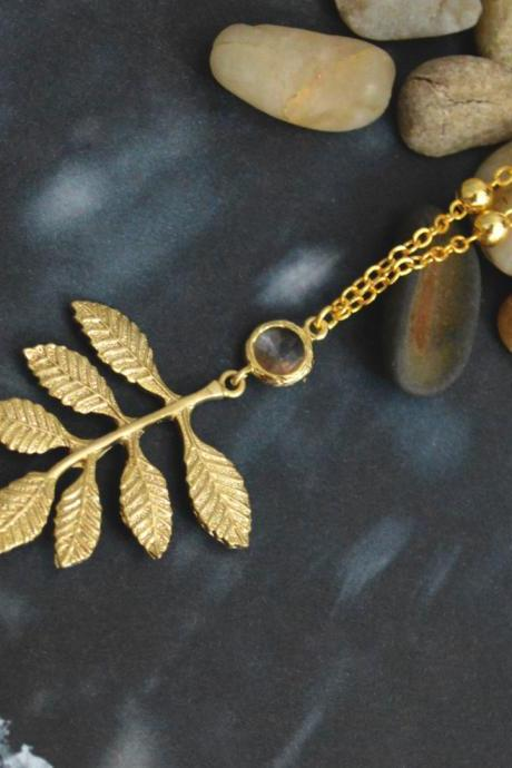 Leaf necklace, Glass necklace, Elegant necklace, Modern necklace, Gold plated ball chain/Bridesmaid gifts/Everyday jewelry/