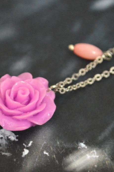 Flower rose cabochon necklace, Pink coral necklace,Modern necklace, White gold rhodium plated chain/Bridesmaid gifts/Everyday jewelry/