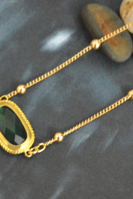 Emerald Necklace, Ball chain necklace,Bezel set glass emerald necklace, Gold plated ball chain/Bridesmaid gifts/Everyday jewelry/