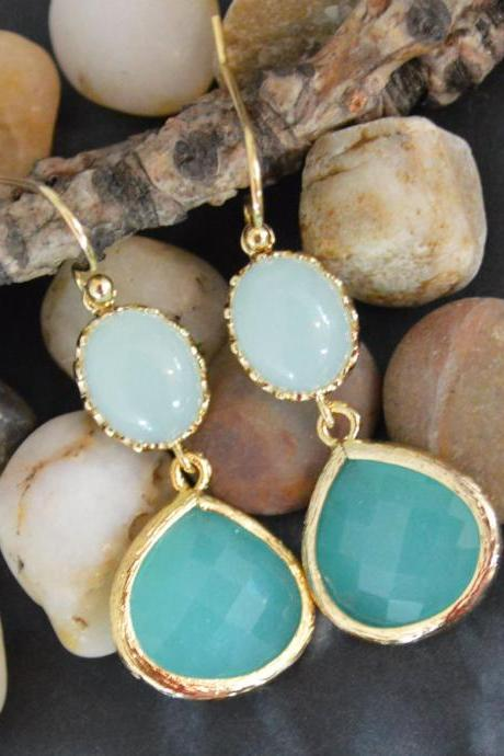 Dangle drop earrings, Glass mint earrings, Bezel set mint blue drop earrings, Gold plated /Bridesmaid gifts/Everyday jewelry/