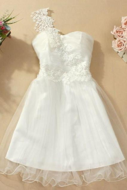 Cute And Beautiful One-Shoulder Mini Bridesmaid Wedding Evening Party Prom Dress - White