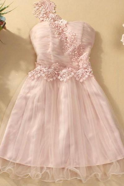 Cute And Beautiful One-Shoulder Mini Evening Party Prom Bridesmaid Wedding Dress - Pink