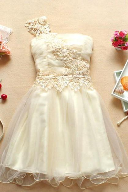 Cute And Beautiful One-shoulder Mini Bridesmaid Wedding Evening Party Prom Dress - Apricot