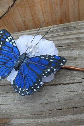 Flower Hair Clip - Fabric Flower Hair Accessory - Butterfly Hair Accessory - White Flower and Blue Butterfly
