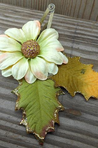 Flower Hair Clip - Fabric Flower Hair Accessory - Small Gold Flower - Handmade Hair Accessories by Empyrean Artistry