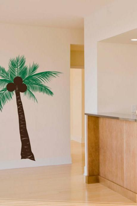 Short Coconut Palm Tree Wall Decal
