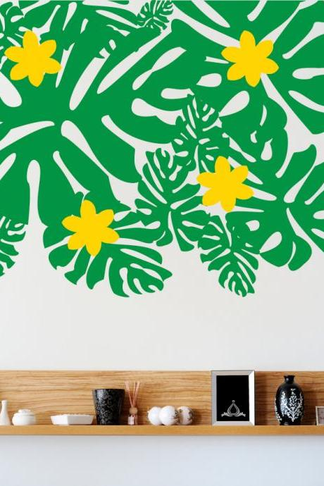 Tropical Leaves and Flowers Wall Decal