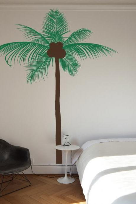 Tall Coconut Palm Tree Wall Decal