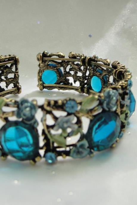 1920s blue crystal and flower bangle