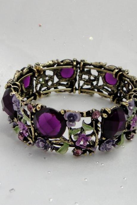 1920s purple crystal and flower bangle