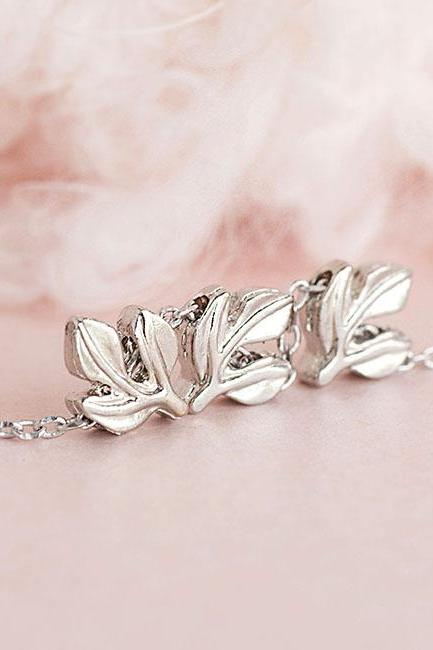 Tiny Silver Laurel Leaves Necklace, Triple Leaf Charm Whimsical Jewelry