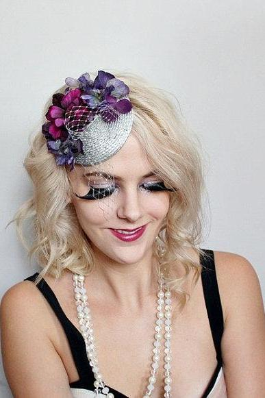 purple and grey piece // fasinator, quirky, circus, feather hair piece