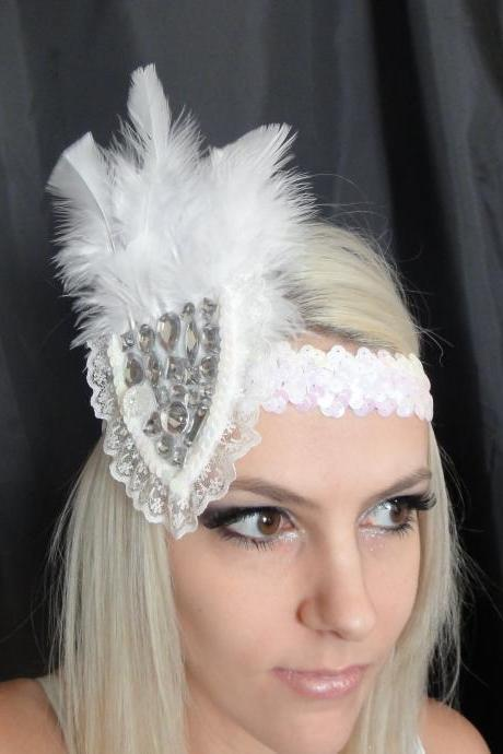 White Lace Feather and Gemstone 1920s Headband
