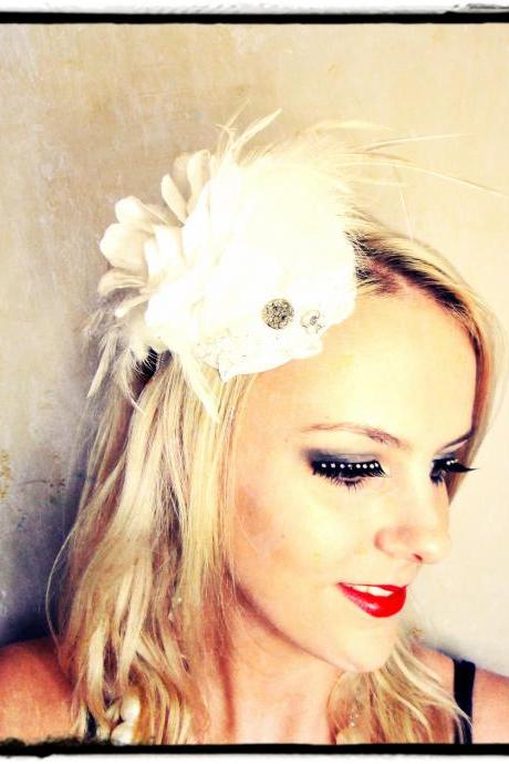 1920s Bridal white Headband