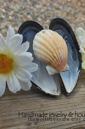 Seashell Hair Barrette - Handmade Hair Accessory using Natural Seashells - White Daisy Fabric Flowers