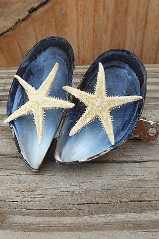 Mussel and Starfish Hair Barrette - Handmade Seashell Hair Accessory - Natural Seashell Barrette