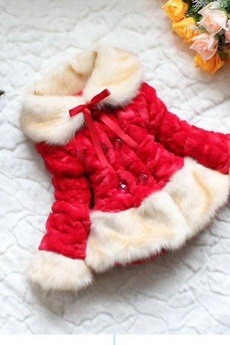 READY TO SHIP Girls Red Jacket-jacket Christmas Fur Jacket -Super Soft Luxurious jacket for Girls