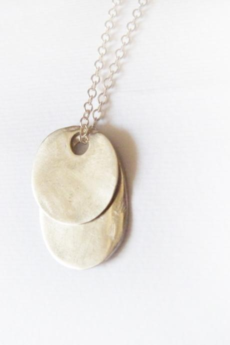 Fine Silver Disc Oval Pendants Sterling Silver Chain Minimalist Necklace by SteamyLab