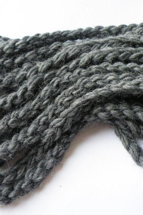 Dark Grey Alpaca Merino Wool Neckwarmer Crochet Infinity Scarf Textile Necklace Fall Winter Accessories