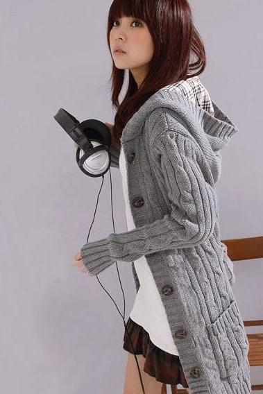 Fashion Gray Cardigan With Hood