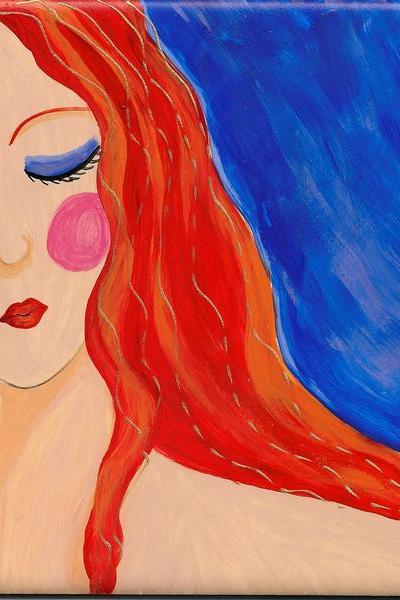 Hand Painted Ceramic Art Tile Portrait of a Red Haired Woman