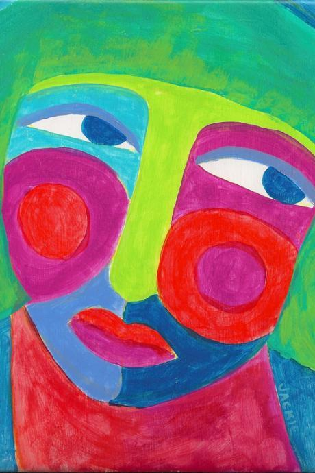 Hand Painted Art Tile My Colorful Abstract Portrait of a Woman