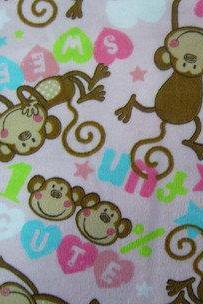 Baby Girl Light Pink Monkey Print Flannel Fitted Crib Sheet with Matching Minky Blanket