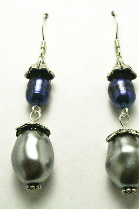 CLEARANCE Blue and Silver Pearl Earrings