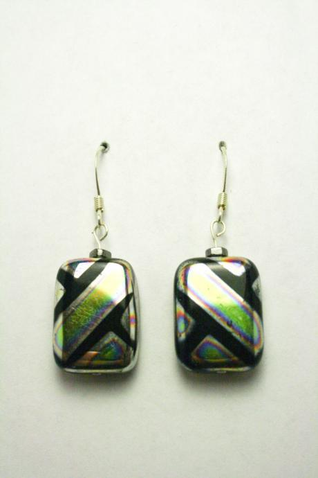 CLEARANCE Black and Silver Iridescent Earrings