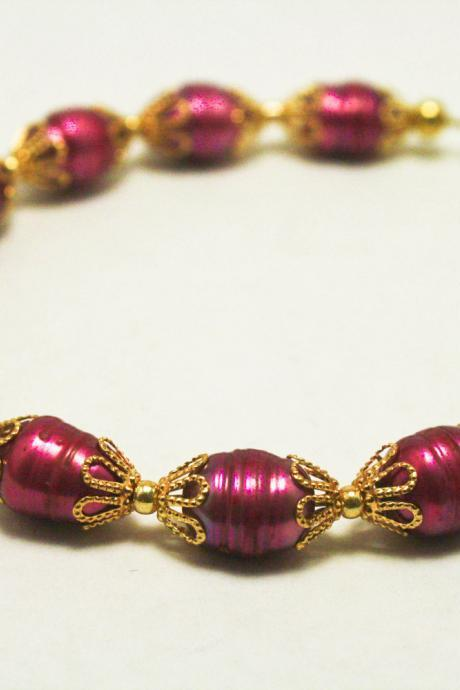 CLEARANCE Pink and Gold Potato Pearl Bracelet