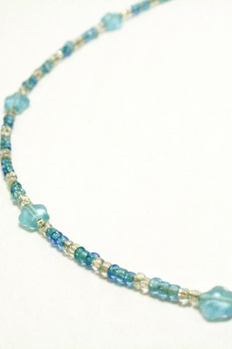 CLEARANCE Blue and Silver Seed Bead and Glass Star Necklace