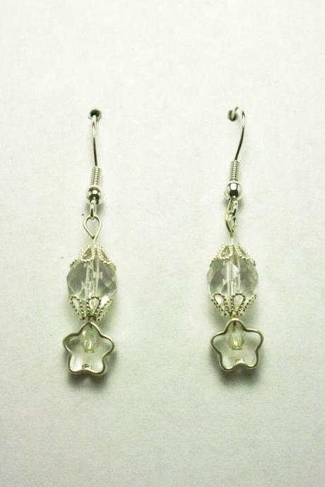 CLEARANCE Clear Glass and Silver Flower Earrings