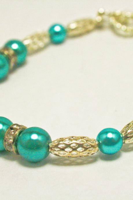 CLEARANCE Silver Metal and Teal Pearl Bracelet