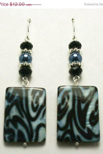 ON SALE Blue and Black Zebra Print Earrings