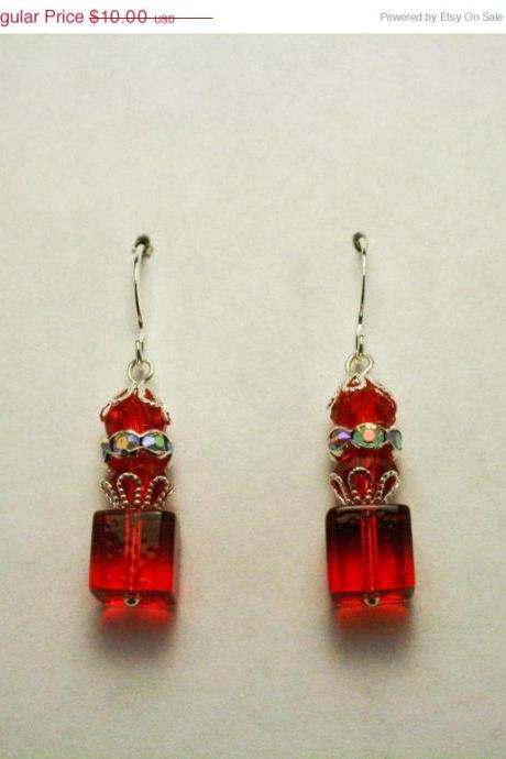 ON SALE Elegant Red Glass Dangle Earrings