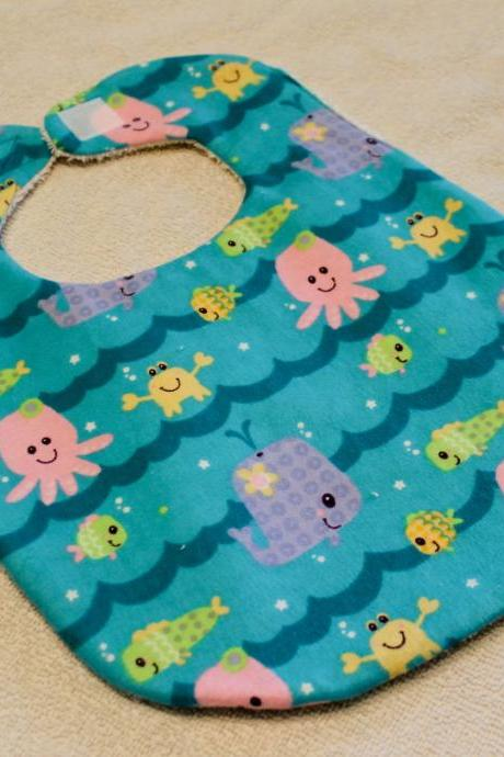 Blue Sea Animals Flannel Bib
