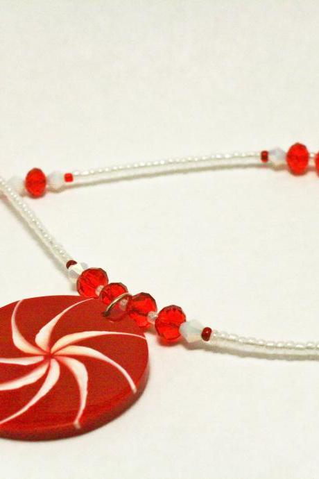 CLEARANCE Red and White Seed Bead and Fire Polsihed Glass Necklace