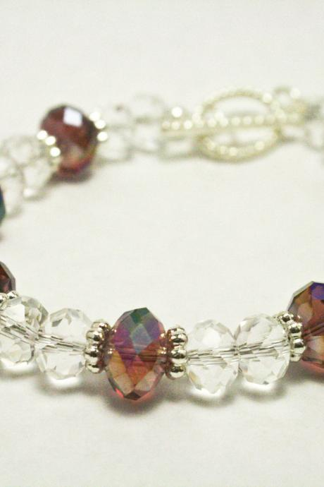 Purple and Clear Iridescent Fire Polished Glass Bracelet